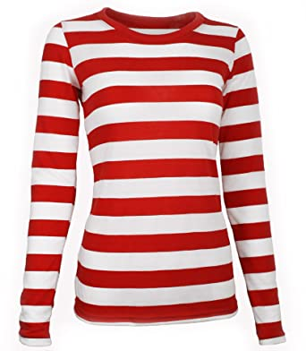 2cb0989cc12 Largemouth Women s Long Sleeve Striped Shirt Red White at Amazon ...