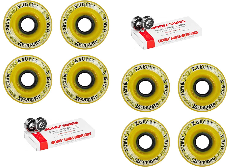 Labeda Wheels Inline Hockey Dynasty 3 72 mmイエロー8パックスイスBearings