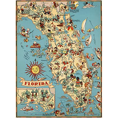 State of Florida Fun Cartoon Wooden Map Geography Jigsaw Puzzle 1000 Piece USA Province State Maps Educational Toy for Kids Adults: Toys & Games