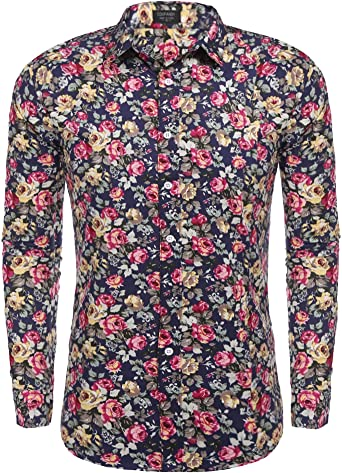 YYear Men Printed Stretch Casual Button Down Plus Size Long Sleeve Shirt