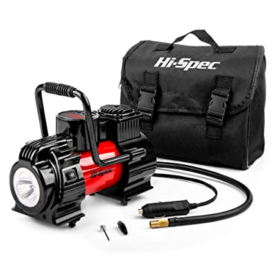 Hi-Spec 12V Portable Air Compressor Pump, Single Cylinder & Digital LED Gauge, Auto Shut-off, 120 PSI Max Pressure, 3 Adapters for Inflating Car Tires, Balls, Pool Toys, Tyres in Carry Bag: Home Improvement
