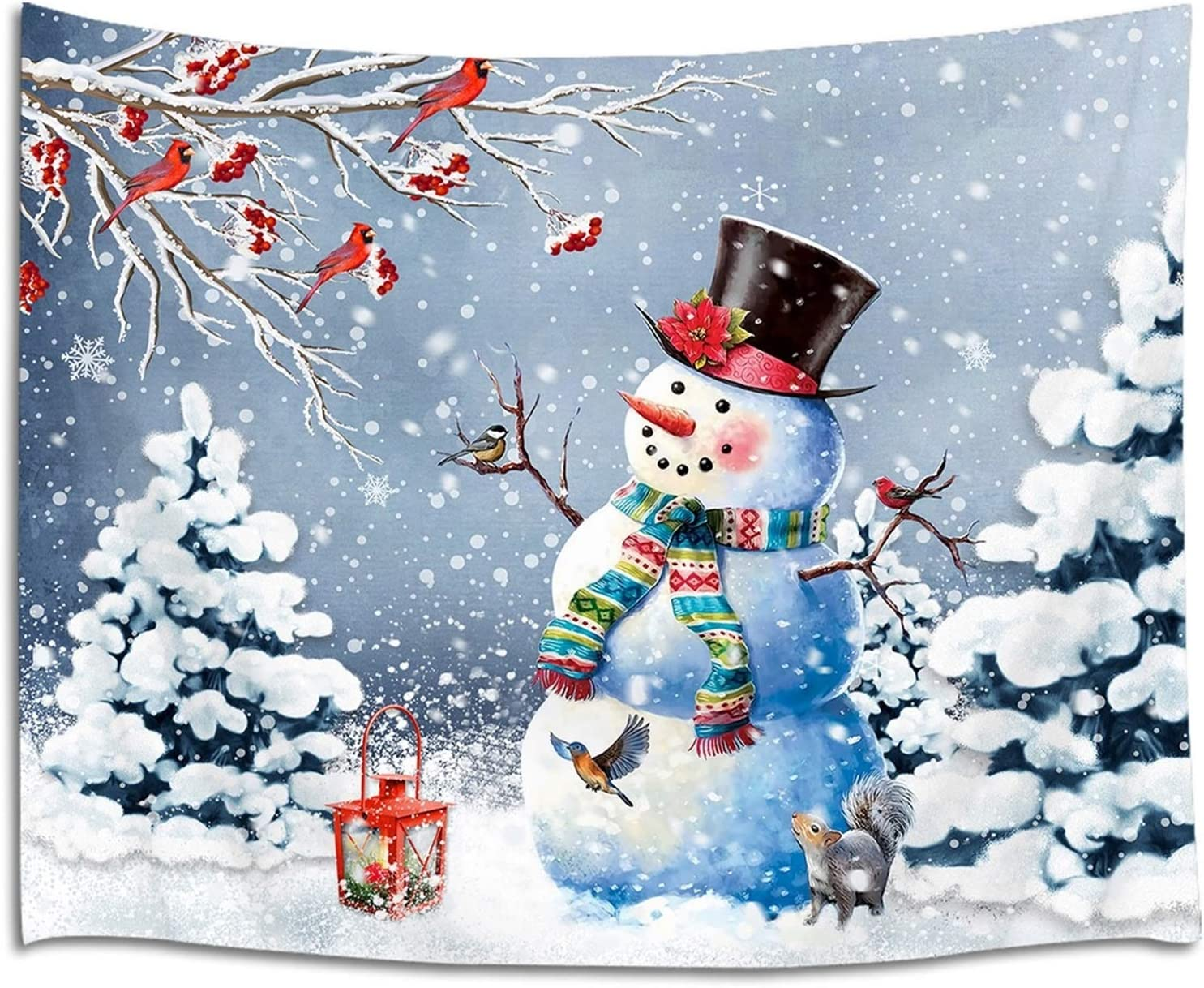 LB Christmas Snowman Tapestry Xmas Tree Winter Snow Scenery Tapestry Wall Hanging Outdoor Bird Cardinals Squirrel Snowflake Tapestry for Bedroom Living Room Dorm Decorations Wall Art Decor 60x40 inch