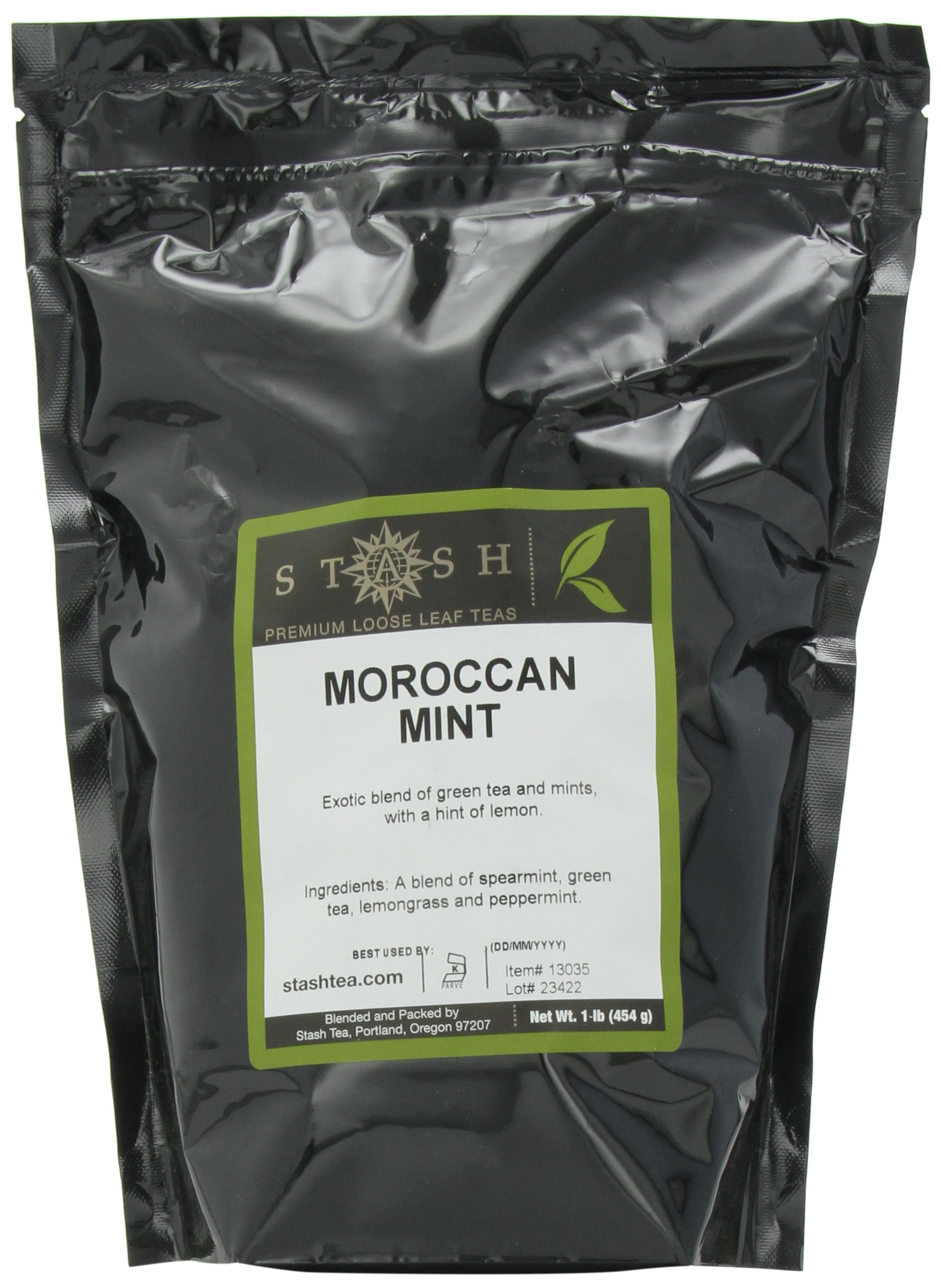 Stash Tea Moroccan Mint Loose Leaf Tea, 16 Ounce Pouch (Packaging May Vary) Premium Herbal Tea for Use with Tea Infusers Tea Strainers or Teapots, Drink Hot or Iced, Sweetened or Plain