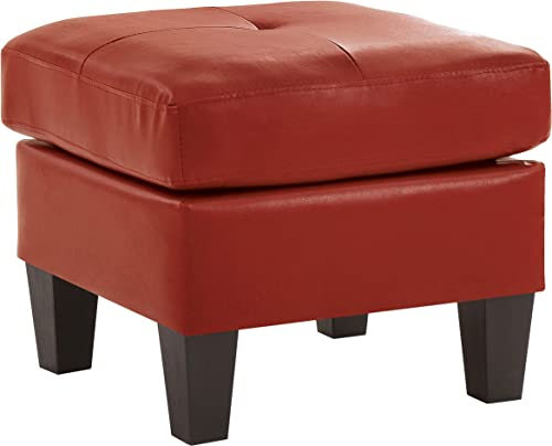 Glory Furniture Living Room Ottoman Red Faux Leather
