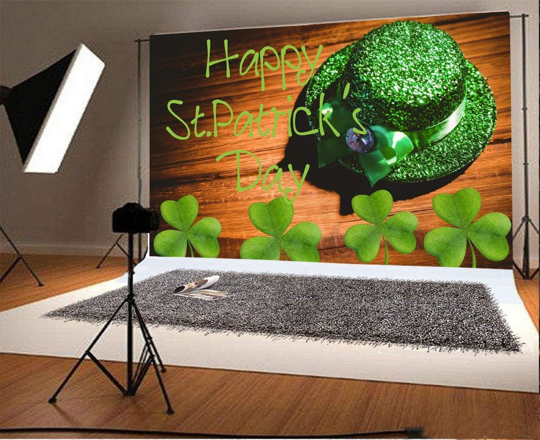 Vinyl 9X6FT Lucky Irish Shamrock Backdrop Green Clover Leprechauns Hat Wood Board Happy St Patricks Day Photography Background Kids Adults Photo Studio Props