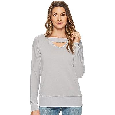 Allen Allen Women's Deep V with Ribbed Neckband Sweatshirt at Women's Clothing store