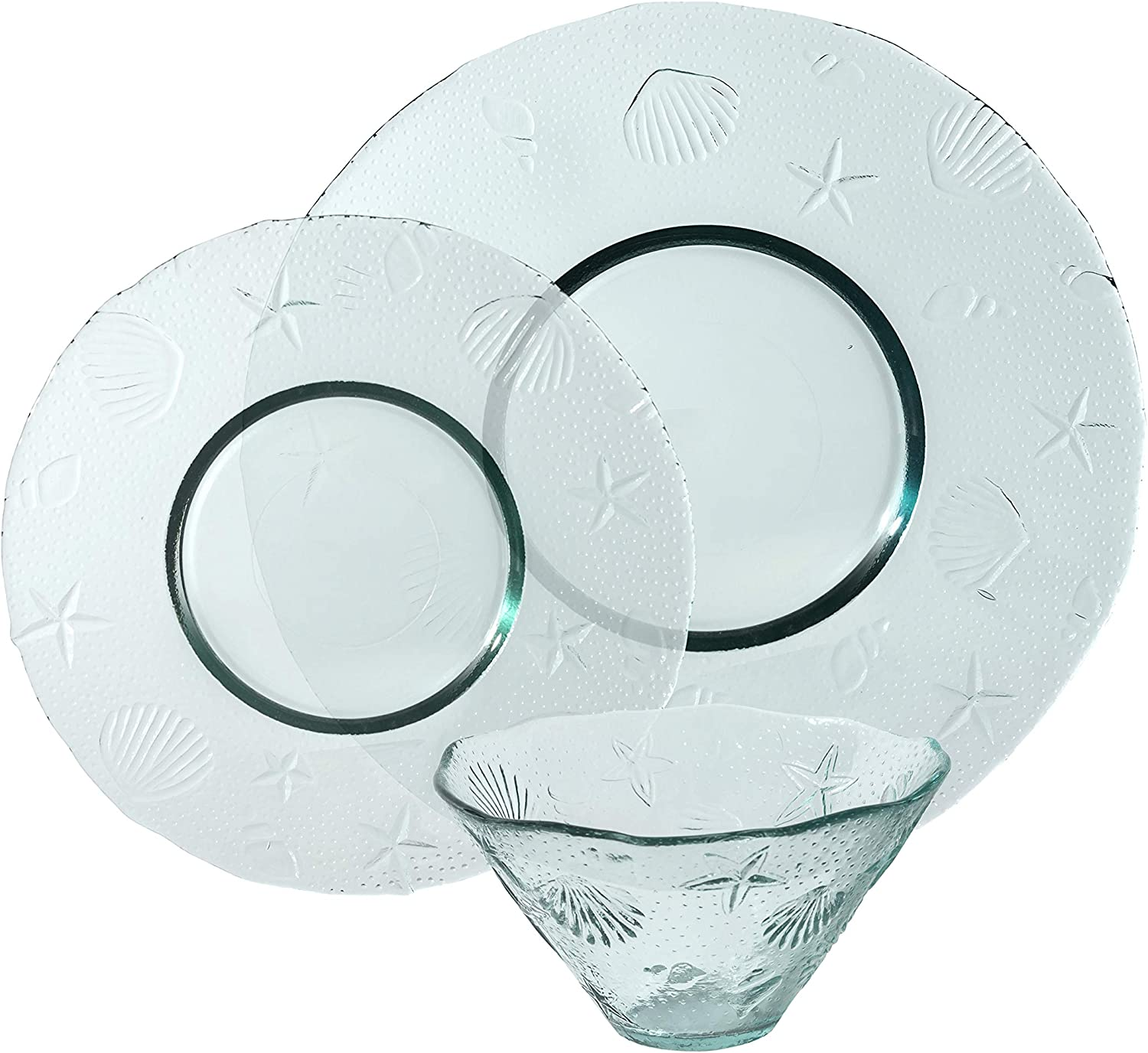 French Home Recycled Clear Glass, 12 piece Coastal Dinnerware Set, Service for 4