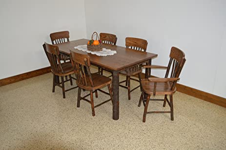 Rustic Hickory Oak 6 Farm Table With ChairsWalnut Stain Amish Made USA