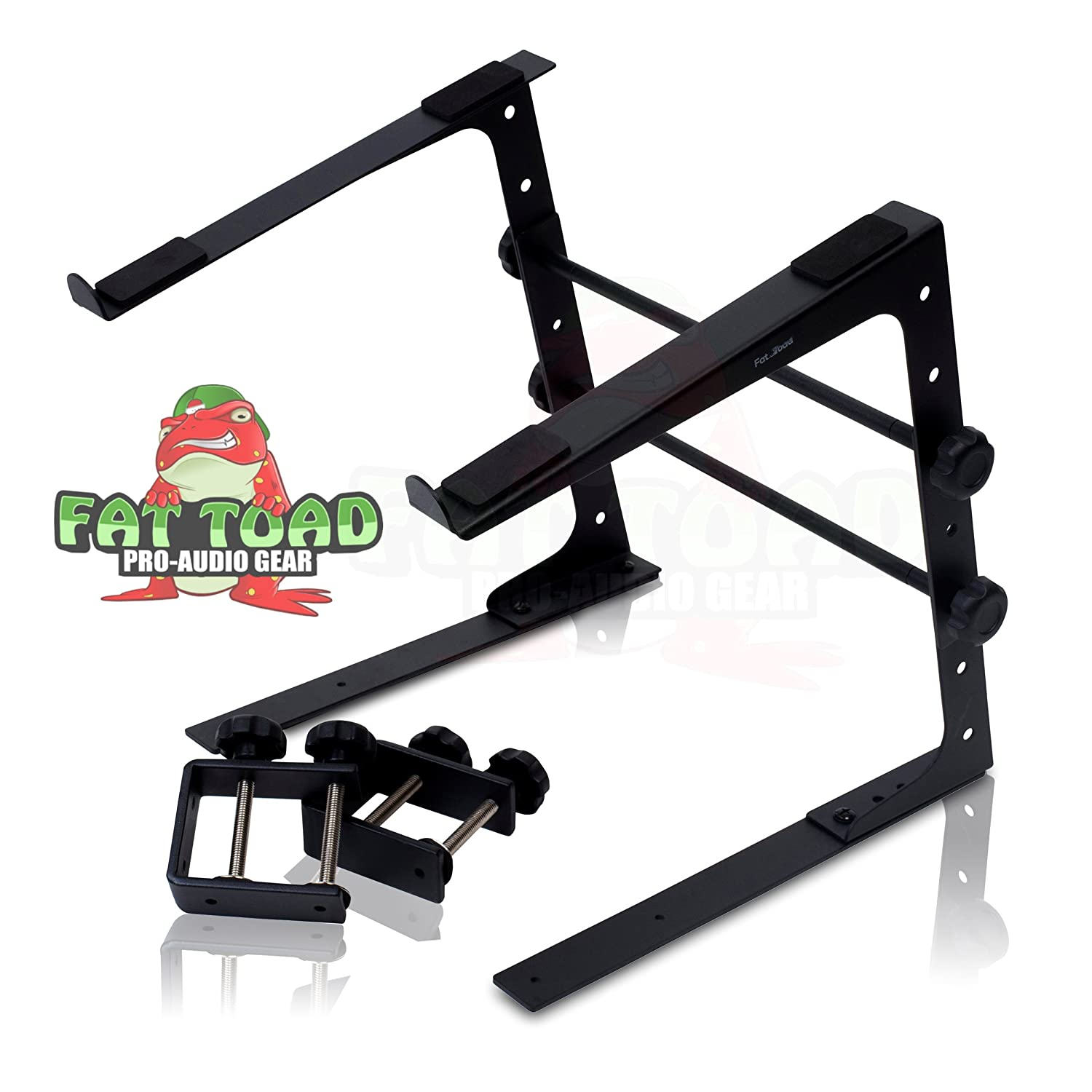 DJ Laptop Computer Stand by Fat Toad | Portable PC Table with Durable Rack Mount Clamp Case L Gear Bracket|Mobile Disc Jockey Equipment|For Pro-Audio Controller Mixer Studio|Fits All Laptop Sizes SM-LS01