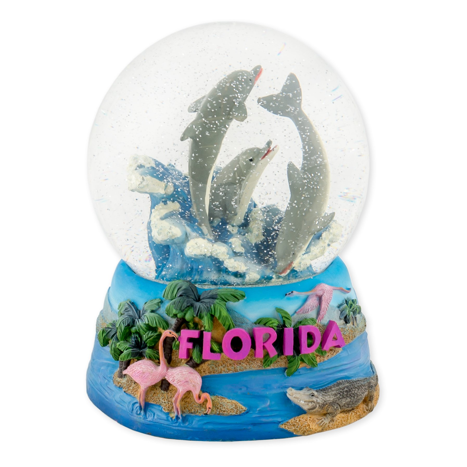 Florida Dolphins 100mm Resin Glitter Water Globe Plays Tune Sunshine on My Shoulders