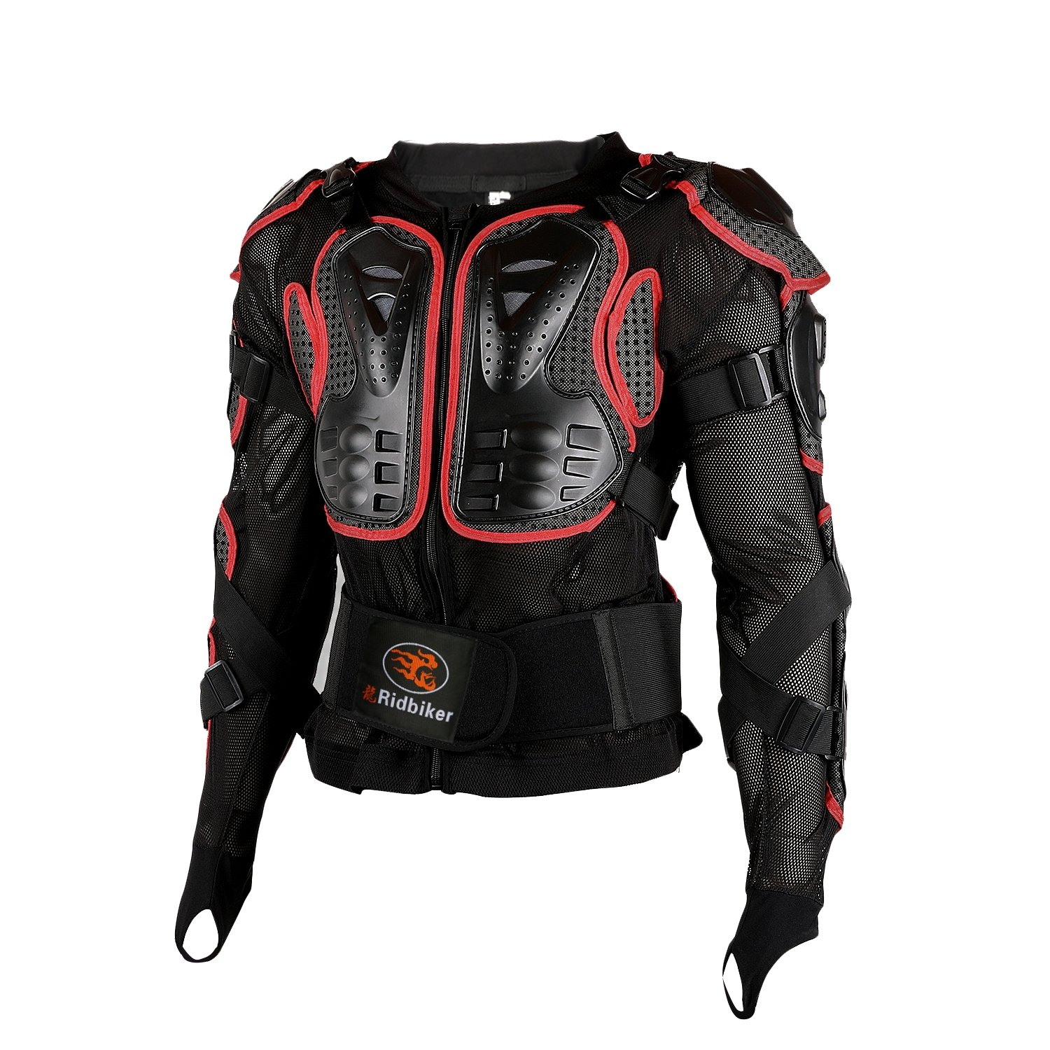 Ridbiker Motorcycle Full Body Armor Protector Removable Racing Jacket Motocross Spine Chest Motocross Protective Shirt, L, Red Ridbiker-14