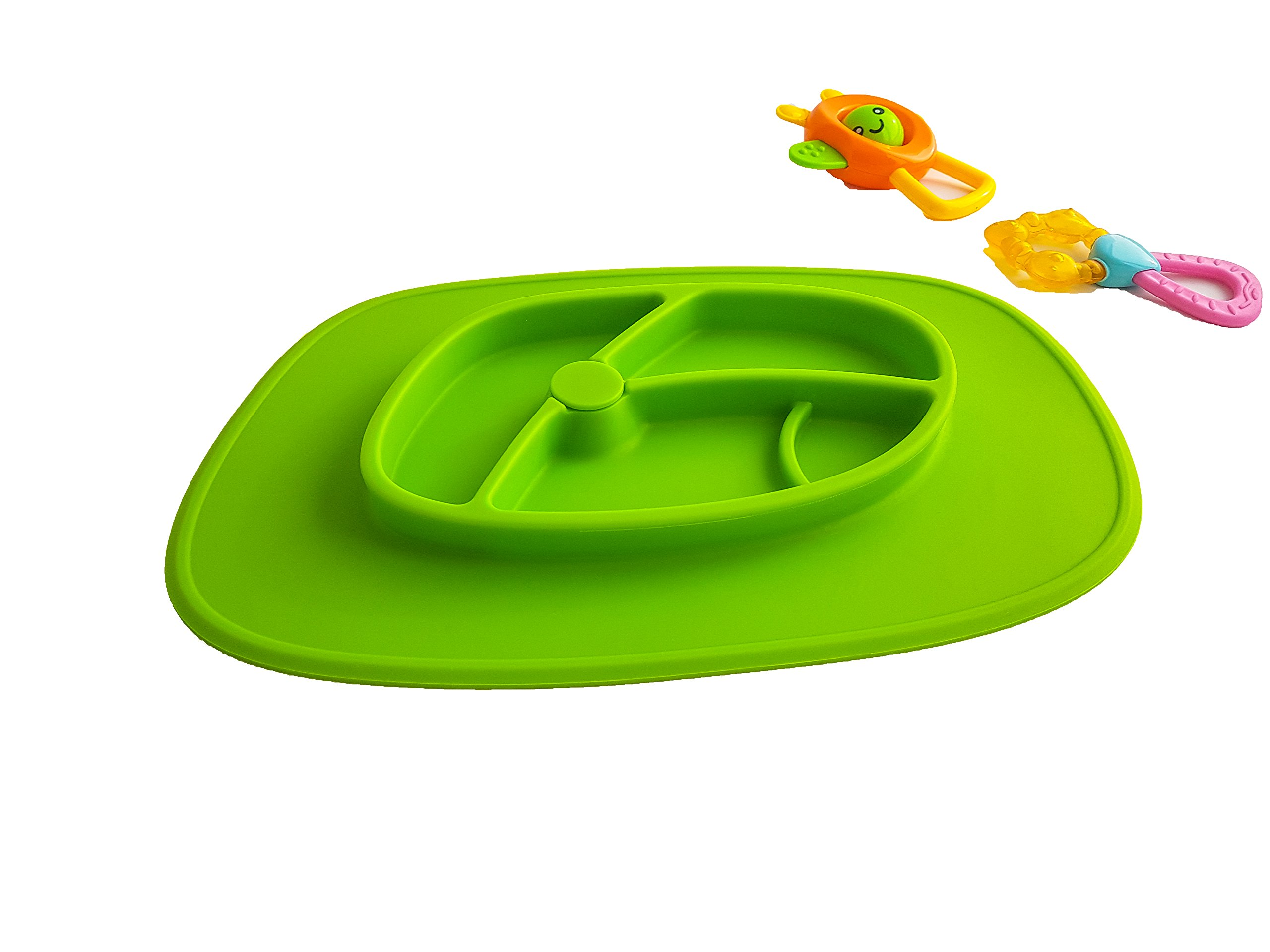 EZY ACTIVE - Non Slip Silicone Placemat Plate for kids - Green