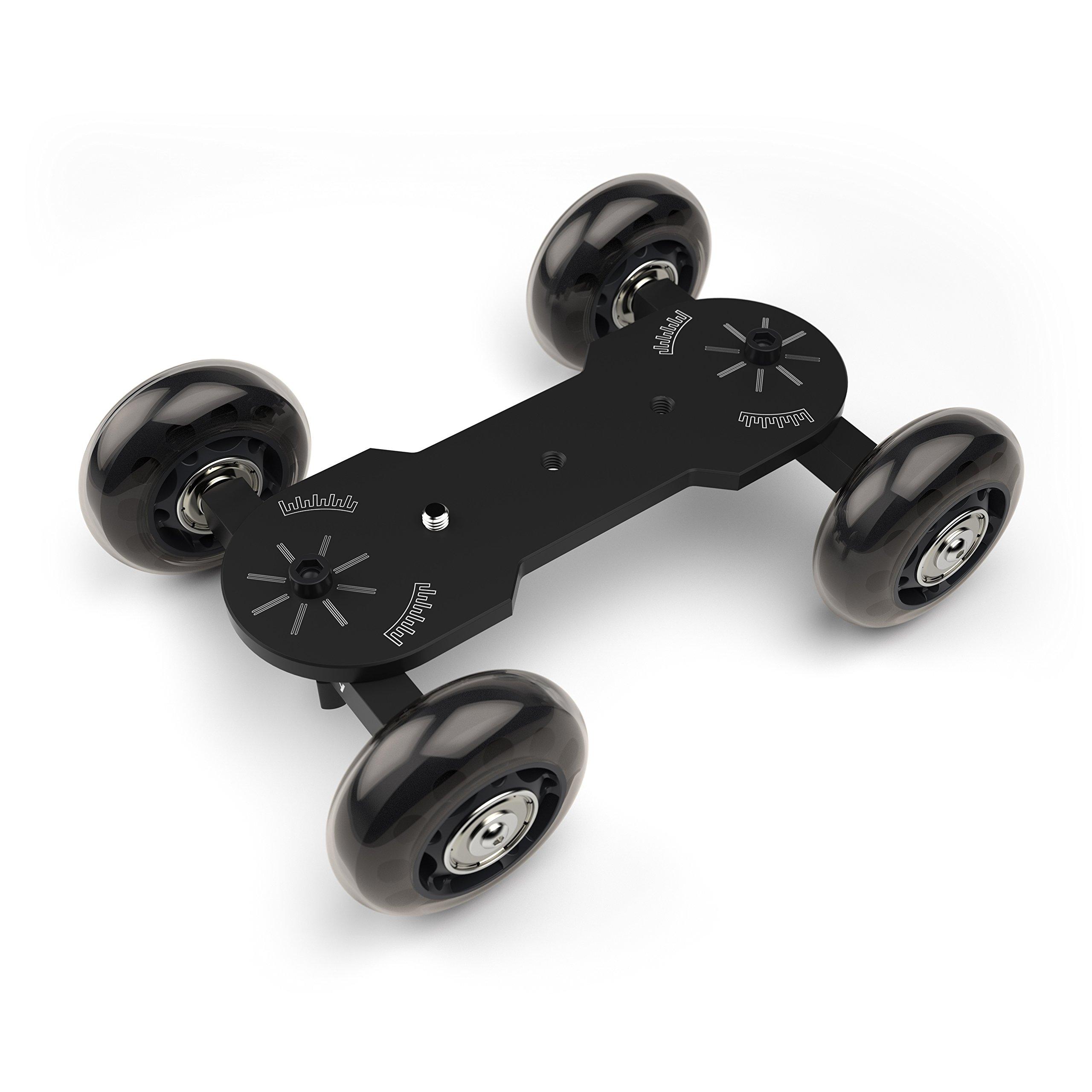 Luminously Camera Skate Dolly DSLR Rail Car Slider - Smooth Table Top Skater For Cameras (Black)