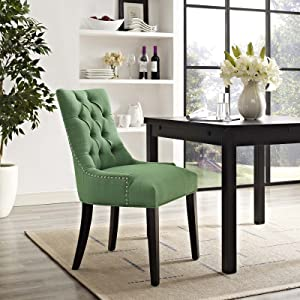 Modway Regent Modern Tufted Upholstered Fabric Kitchen and Dining Room Chair with Nailhead Trim in Kelly Green