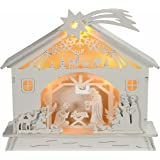 WeRChristmas Pre-Lit Christmas Wooden Nativity Scene Decoration Illuminated with Warm LED, 18 cm - Multi-Colour
