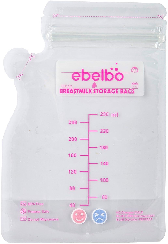 EBELBO 30 Stücke Muttermilchbeutel Muttermilchbehälter BPA-frei einfrieren platzsparend klein 100ml/200ml/250ml/300ml, 100ml