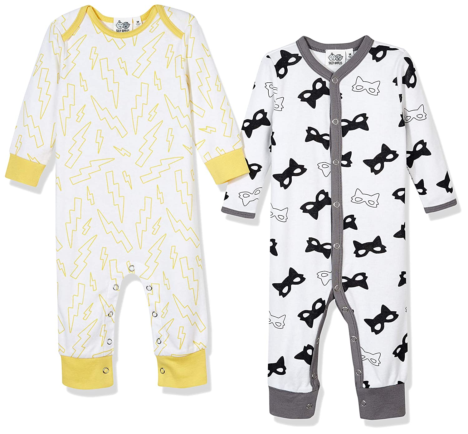Silly Apples Baby Toddler Boys or Girls Fall Outfit 2-Pack Jumpsuit Romper Onesies