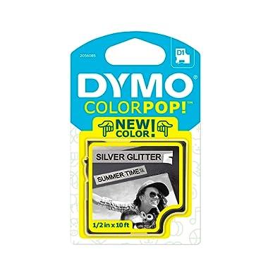 DYMO COLORPOP Authentic Label Maker Tape, 1/2  W x 10' L, Black Print on Silver Glitter, D1 Standard