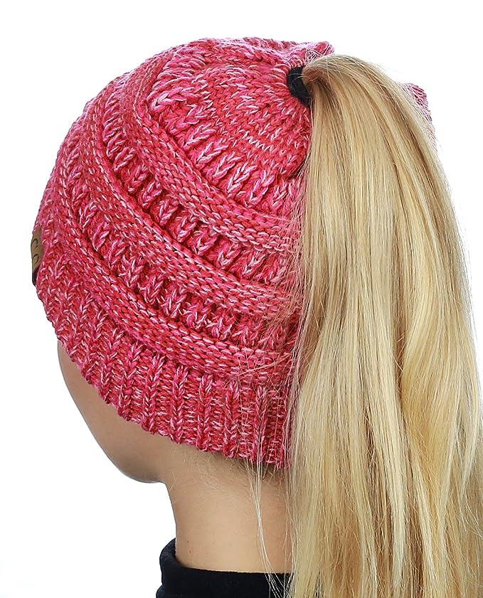 59b22d1766d C.C BeanieTail Soft Stretch Cable Knit Messy High Bun Ponytail Beanie Hat