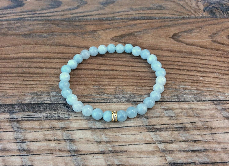 March birthstone yoga bracelet Aquamarine bracelet