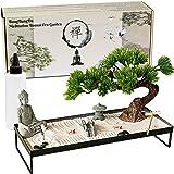Meditation Decoration Japanese Zen Garden – Home Office Bonsai Zen Garden Decor Zen Gifts for Women Man Friends – Tabletop Bu