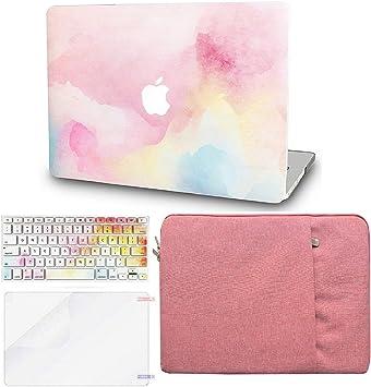 KECC - Estuche para MacBook con cubierta de plástico duro para teclado EU + protector de pantalla + funda protectora multicolor Niebla arcoíris. A1398 Old Mac Pro 15