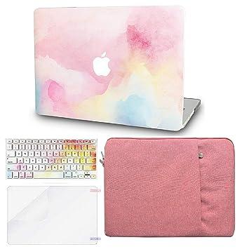 KECC - Carcasa rígida para MacBook con Teclado de Reino Unido + Protector de Pantalla + Funda Rainbow Mist A1990/A1707 Mac Pro 15