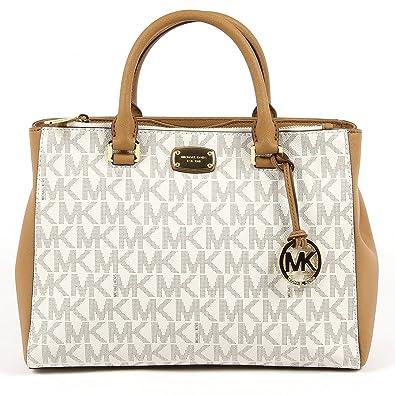 f58a42594864 Amazon.com: Michael Kors Kellen Medium Satchel Crossbody Bag Vanilla Acorn  Brown: Shoes