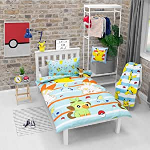 Pokemon Jump Single Duvet Cover   Featuring Pikachu, Grookey, Scorbunny, and Sobble Inc   Officially Licensed Blue Polyester Reversible Two Sided Design