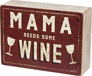 Primitives by Kathy Distressed Red Box Sign, 4 x 5.5-Inches, Mama Needs Some Wine