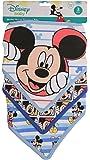 Disney Mickey Mouse 3 Piece Bandana Bibs, Blue Mickey Print