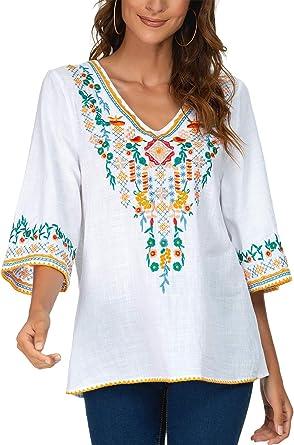 YZXDORWJ Blusa campesina mexicana bordada con cuello en V