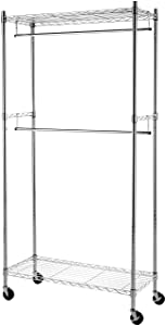 AmazonBasics Double Rod Garment Rack with Wheels - Chrome