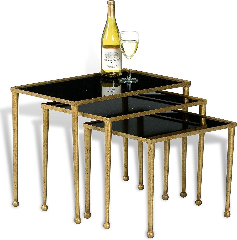 Sarreid Trio of Gilt Metal Nesting Tables