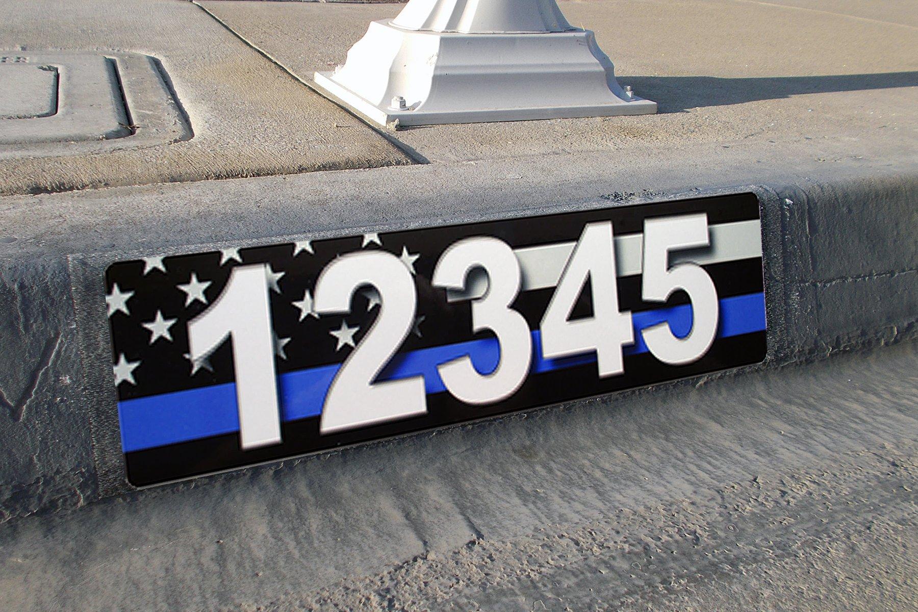 Thin Blue Line, Address Plaque, Reflective