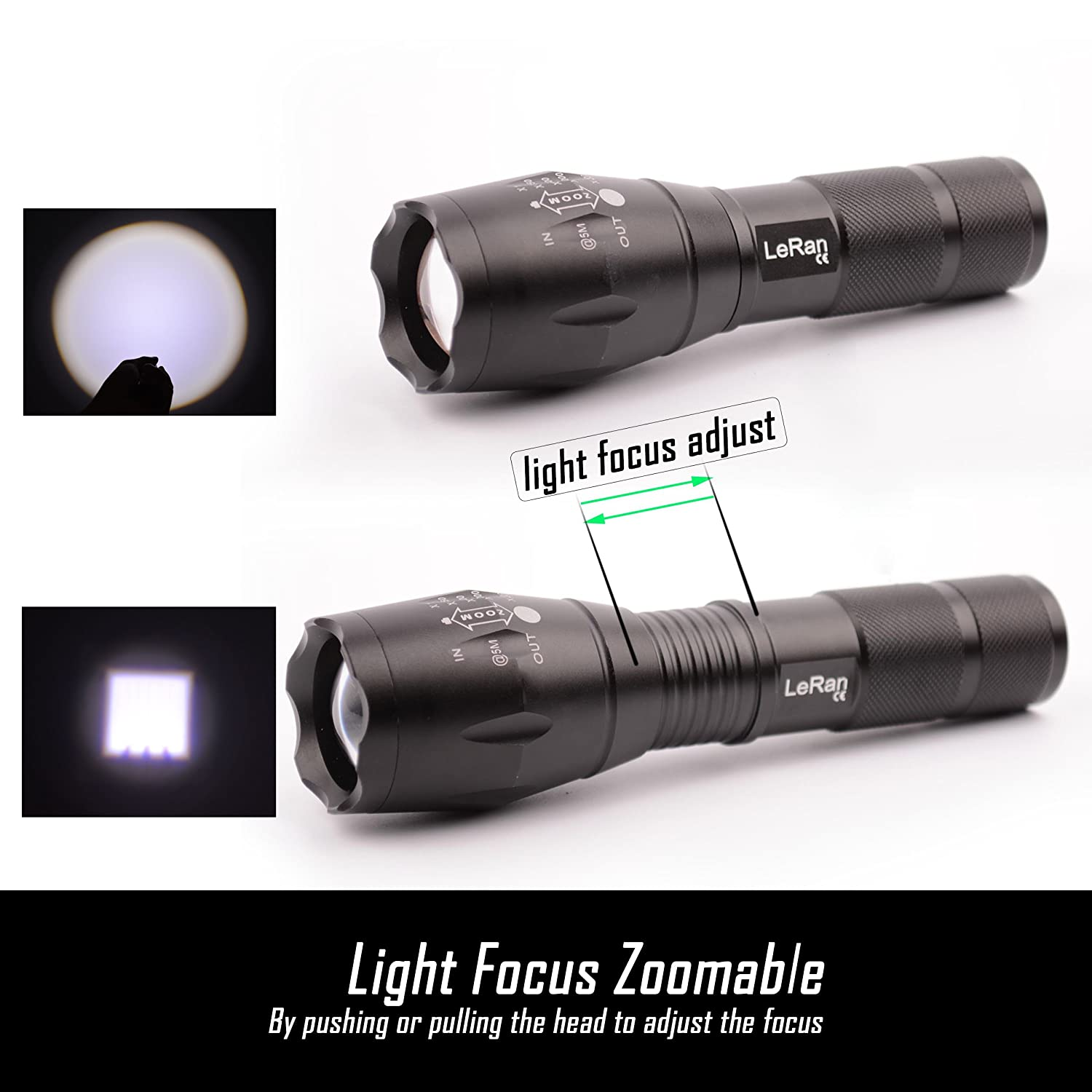 Green LeRan Cree T6 LED Flashlight 1x18650 or 3xAAA Batteries Required LENGSE TECHNOLOGY Magnetic Tail Switch for Convenient Stand Red Filter Lens Aluminium-Alloy Housing White