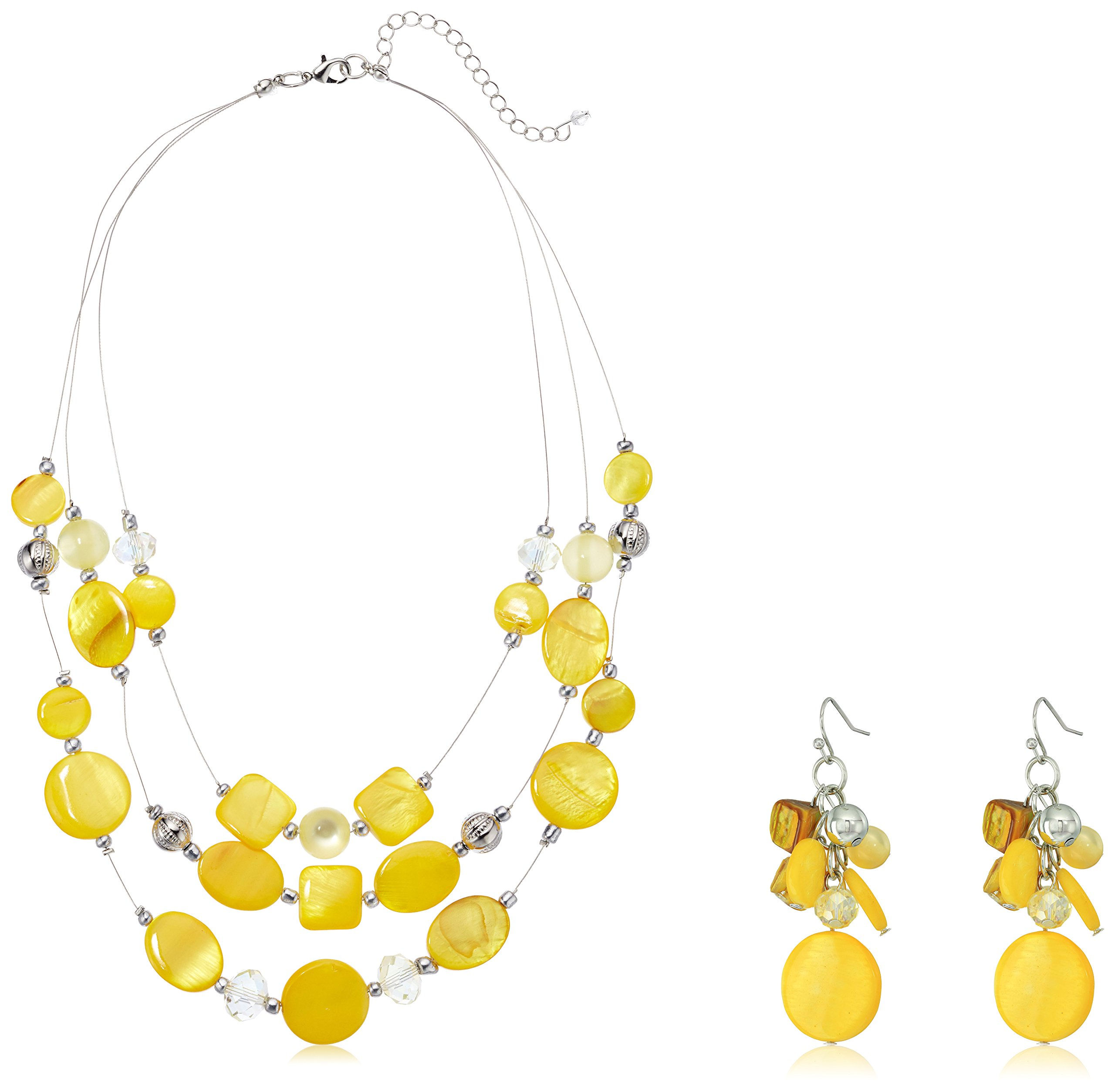 Womens Yellow Illusion Necklace, 18'' + 3'' Extender