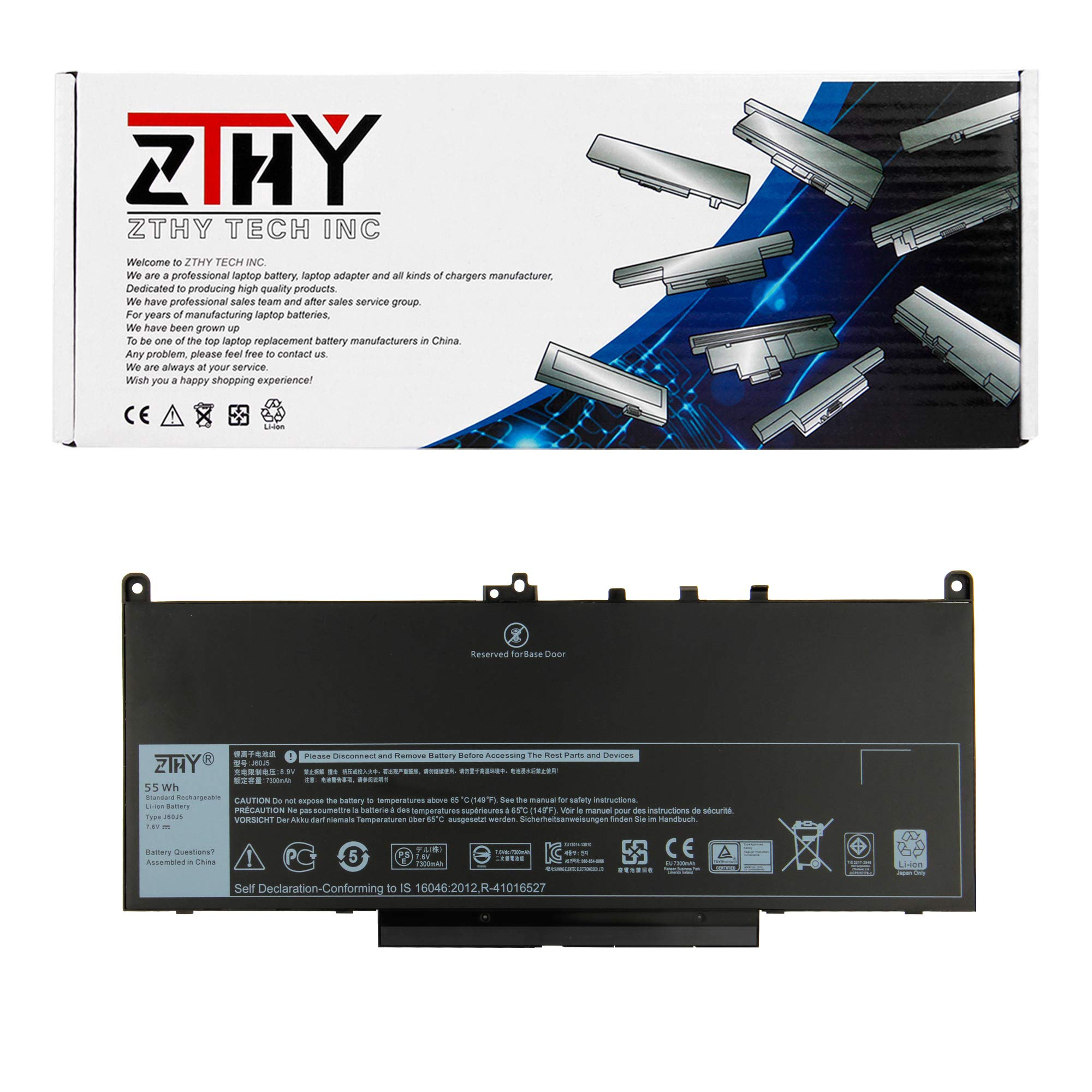 ZTHY J60J5 Laptop Battery Replacement for Dell Latitude E7270 E7470 Series Notebook R1V85 451-BBSX 451-BBSY 451-BBSU MC34Y 242WD PDNM2 7.6V 55WH by ZTHY (Image #1)