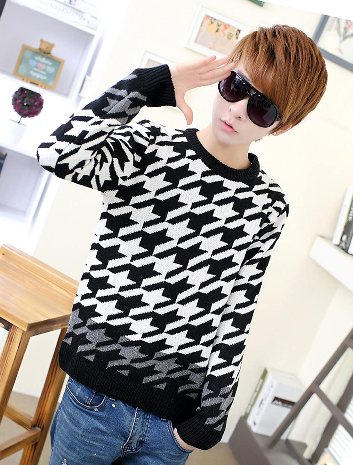 Men Houndstooth Pattern Long Sleeves Casual Sweater