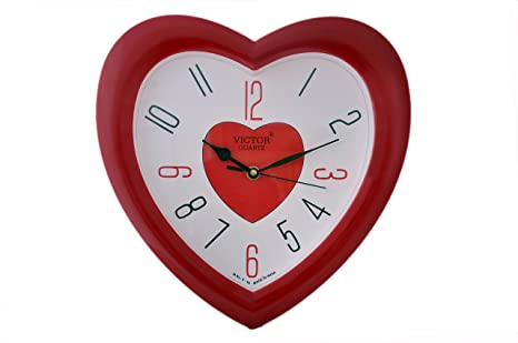 Victor Plastic Analog Wall Clock (26 cm x 26 cm x 5 cm, Red, X04-RED) Wall Clocks at amazon