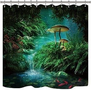Riyidecor Mushroom Fantasy Shower Curtain Panel Jungle Forest Green Teal Zen River Pond Moss Eden Decor Fabric Set Polyester Waterproof 72x72 Inch 12 Pack Plastic Hooks