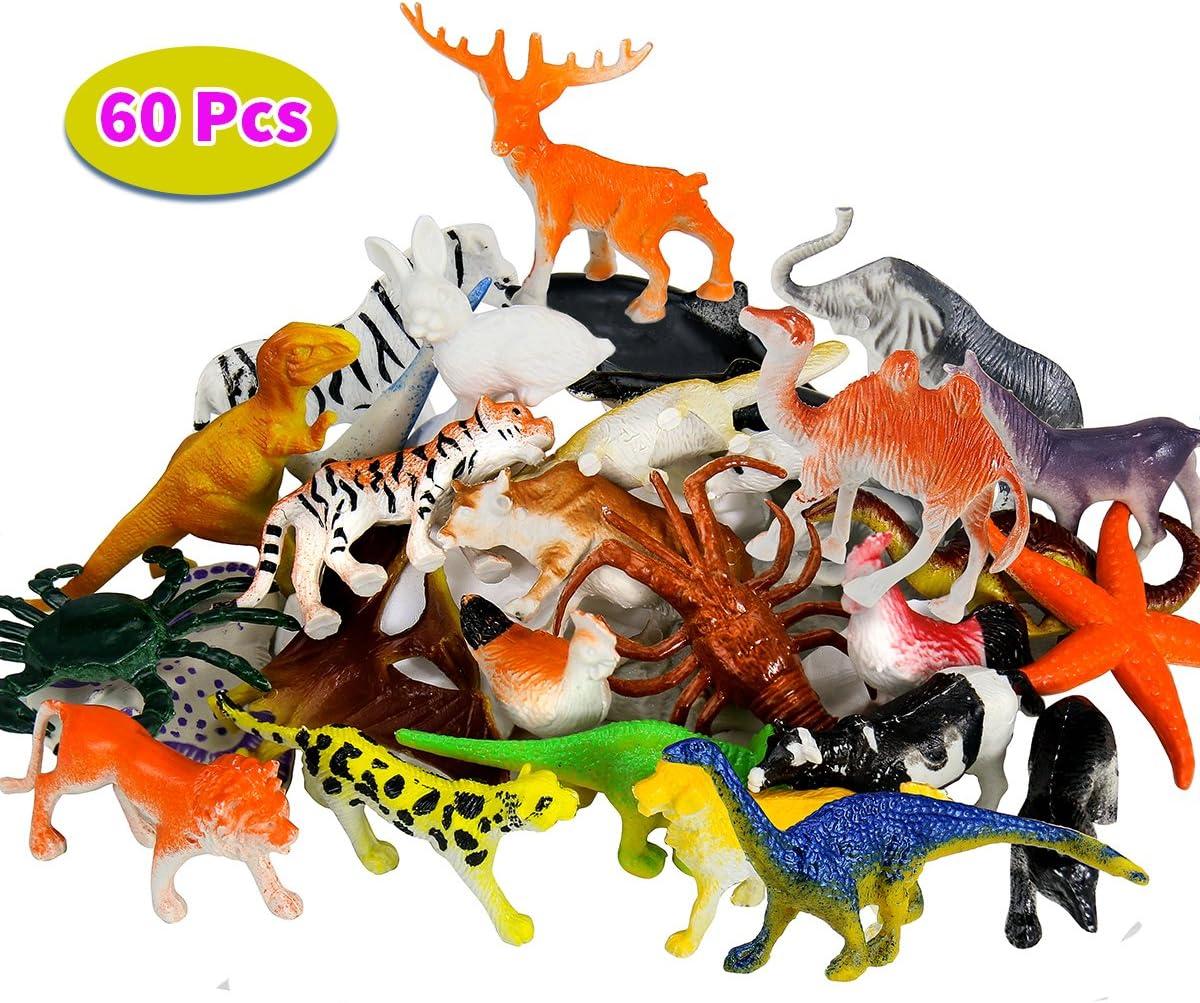 BBLIKE Figura de animales de la selva Figura de dinosaurio y figura de animales marinos, 60 piezas de plástico Mini Animales Favores de fiesta Llenadora de bolsas para fiestas El mejor juego de regalo