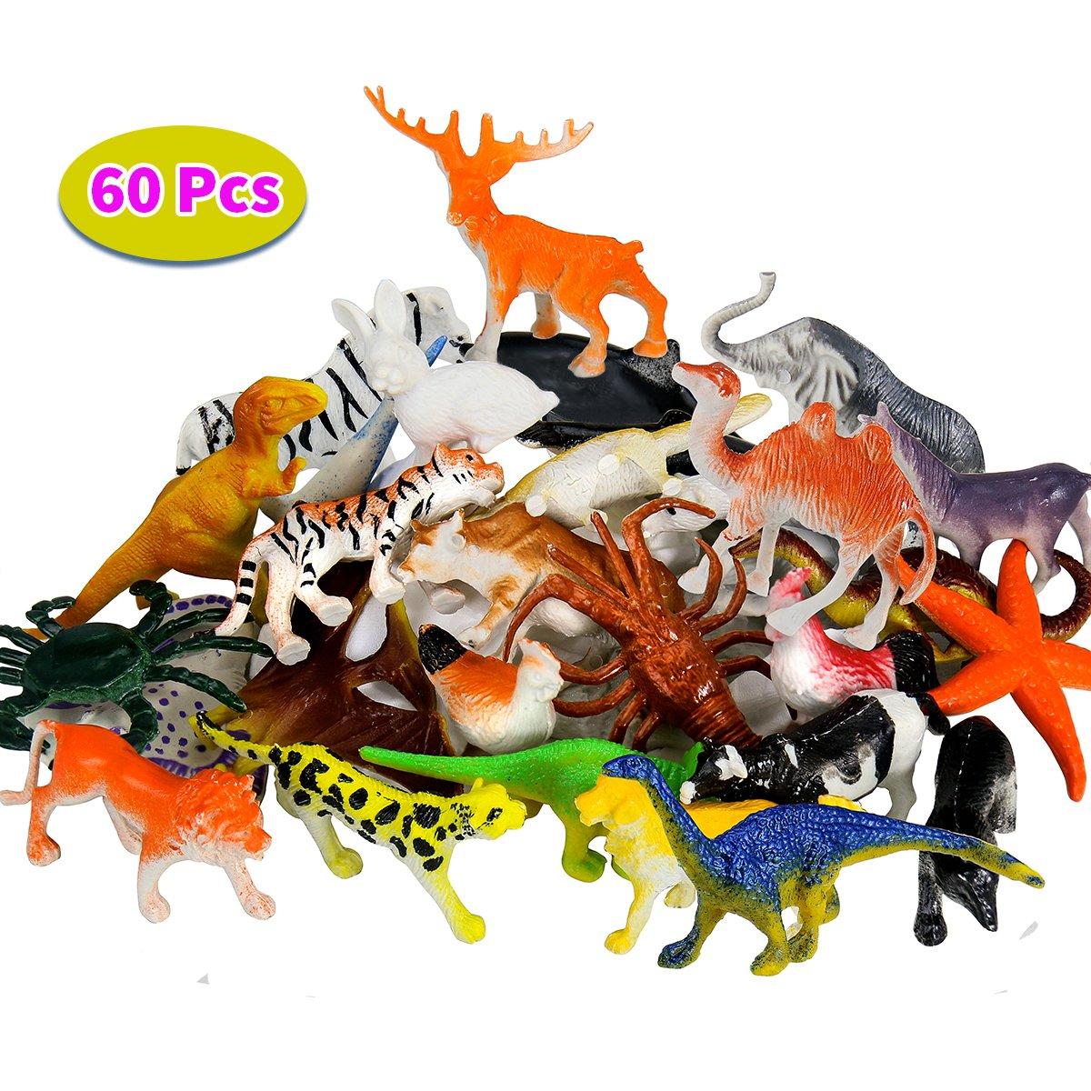 BBLIKE Dschungel Tiere Figur Mini-Dinosaurier-Set und Meerestiere Figur , 60 Stück Kunststoff lebensechte Wildtiere und Kleinen Farm Spielzeug Dekoration für Kinder Geburtstag Party das beste Geschenkset