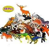 BBLIKE Jungle Animals Figure Dinosaur Figure and Sea Animals Figure, 60 Piece Plastic Mini Animals Party Favors Party Bag Filler Best Gift Set