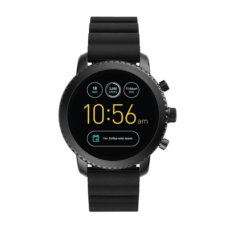 Smartwatch Fossil Q Explorist de Hombre Gen 3, Caja de acero inoxidable negro con correa de silicona negra, Compatible con Android e iOS