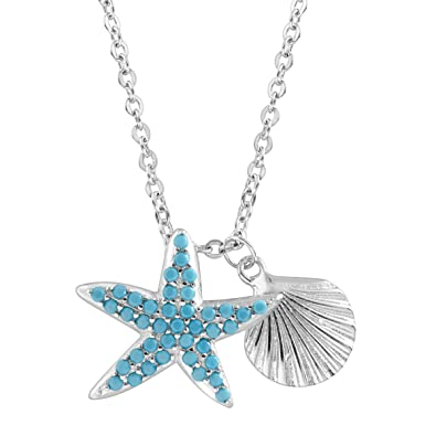 Amazon starfish seashell charm pendant necklace with teal starfish seashell charm pendant necklace with teal cubic zirconia in sterling silver aloadofball Gallery