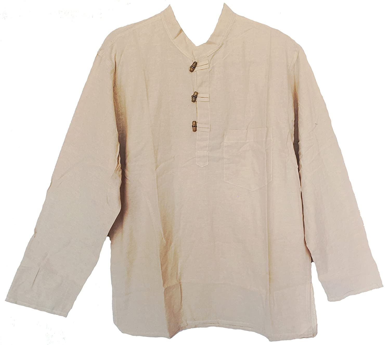 Men's Hand Loomed Natural Cotton Banded Collar Tunic