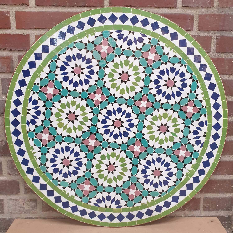 Casa Moro | Mesa de jardín con mosaico marroquí, diámetro de 80 cm, color verde, redonda con estructura, altura de 73 cm, artesanía de Marrakesch | MT2231