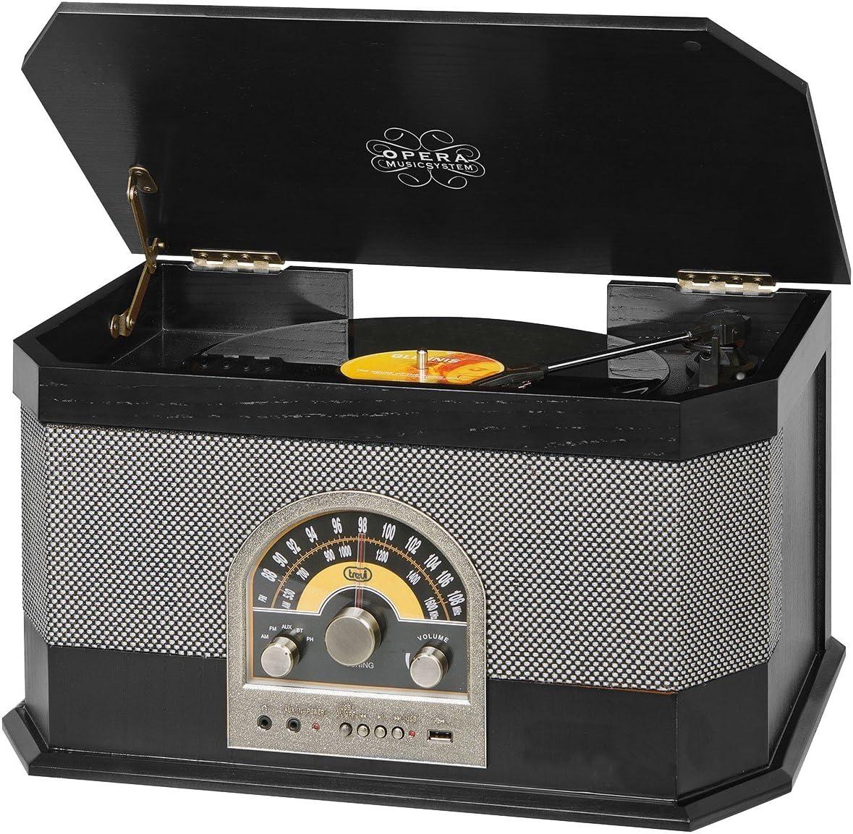 Trevi TT 1040 BT - Sistema estéreo de Tocadiscos Vintage de Madera con MP3, USB, Entrada Auxiliar, Bluetooth, Radio Am/FM, Toma para Auriculares, Color Negro