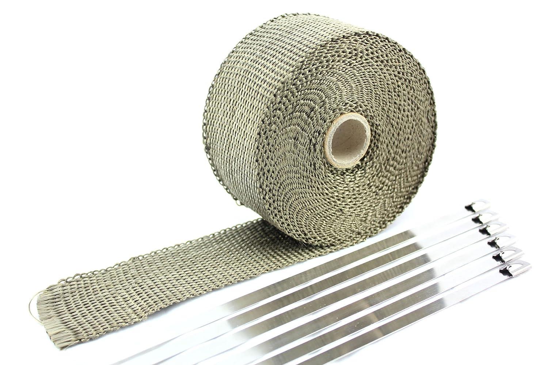 SWI Parts 2'X25ft LAVA Titanium Pipe Insulation Wrap Heat Exhaust Wrap W/6 Stainless Steel Zip Ties SW INDUSTRIAL